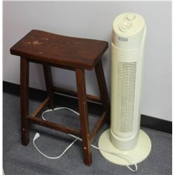 FACTO TOWER OSCILLATING FAN WITH WOOD STOOL