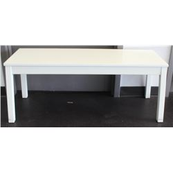 WHITE WOOD BENCH, 44 X 15 X 18