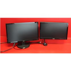 LOT OF 2 MONITORS, 1 HAS SWIVEL ARM ATTACHMENT