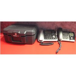 LOT OF 2 DESK PHONES & SENTRY SAFE