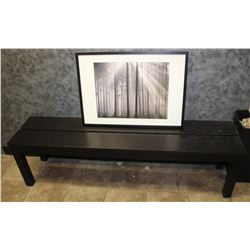 WOOD BENCH 62 X 17 X 14 AND PICTURE,
