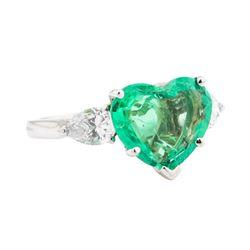 4.19 ctw Emerald and Diamond Ring - Platinum