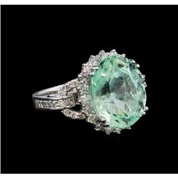 9.47 ctw Emerald and Diamond Ring - 14KT White Gold