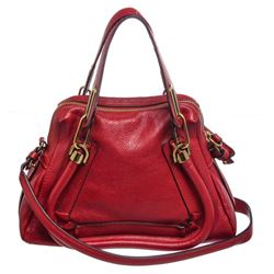 Chloe Red Grained Leather Paraty Small Satchel Handbag