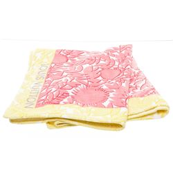 Louis Vuitton Pink Yellow White Floral Cotton Beach Towel