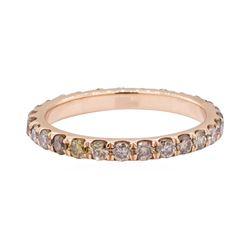1.00 ctw Chocolate Diamond Eternity Ring - 14KT Rose Gold