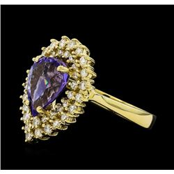 2.76 ctw Tanzanite and Diamond Ring - 14KT Yellow Gold