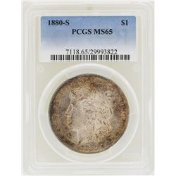 1880-S $1 Morgan Silver Dollar Coin PCGS MS65 Nice Toning