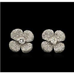 1.98 ctw Diamond Clover Earrings - 18KT White Gold