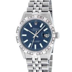 Rolex Mens Stainless Steel 36MM Blue Index Diamond Datejust Wristwatch