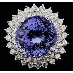 14KT White Gold 14.41 ctw Tanzanite and Diamond Ring