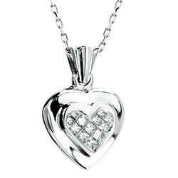 14k White Gold 0.27CTW Diamond Pendant, (H-I)