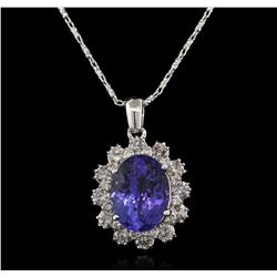 4.80 ctw Tanzanite and Diamond Pendant With Chain - 14KT White Gold