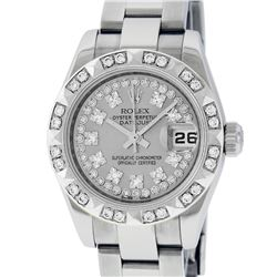 Rolex Ladies Stainless Steel Quickset Slate Grey String Diamond Datejust Wristwa