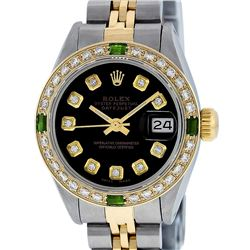Rolex Ladies 2 Tone Black Diamond & Emerald 26mm Datejust Wristwatch