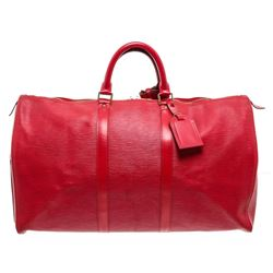 Louis Vuitton Red Epi Leather Keepall 55 cm Duffle Bag Luggage