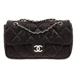 Chanel Black Nylon Flap Shoulder Bag
