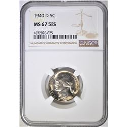 1940-D JEFFERSON NICKEL NGC MS-67 5FS