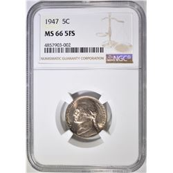 1947 JEFFERSON NICKEL NGC MS-66 5FS