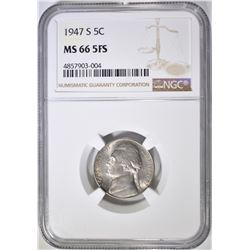 1947-S JEFFERSON NICKEL NGC MS-66 5FS