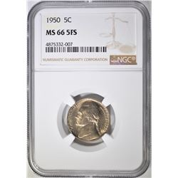 1950 JEFFERSON NICKEL NGC MS-66 5FS