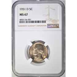 1951-D JEFFERSON NICKEL NGC MS-67