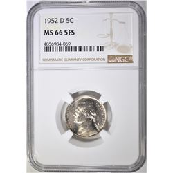 1952-D JEFFERSON NICKEL NGC MS-66 5FS