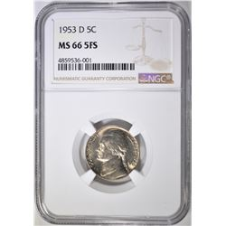 1953-D JEFFERSON NICKEL NGC MS-66 5FS