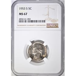 1953-S JEFFERSON NICKEL NGC MS-67