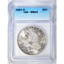 1887-O MORGAN DOLLAR ICGS MS-64