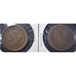 1854 VF/XF & 55 VF+ LARGE CENTS