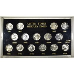 1941-45 GEM BU MERCURY DIME SET IN PLASTIC HOLDER
