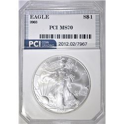 2003 AMERICAN SILVER EAGLE, PCI PERFECT GEM BU
