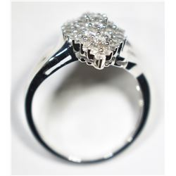 10KT WHITE GOLD CLUSTER RING W/ 1CT. OF DIAMONDS