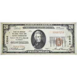 1929 TY 1 $20 NC  B OF A NT & SA SAN FRANCISCO