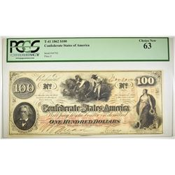 1862 $100 CSA T-41  PCGS 63