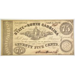 1863 75 CENTS STATE OF NC CIVIL WAR ISSUED