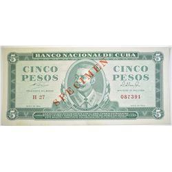 1964 5 GOLD PESOS CUBA SPECIMEN NOTE