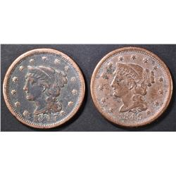 1847 & 1849 LARGE CENTS  XF IMPROPERLY CLEANED