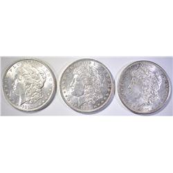 1881-S, 1883-O & 1887 MORGAN DOLLARS  CH BU