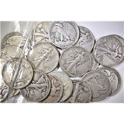 20-CIRC MIXED DATE WALKING LIBERTY HALF DOLLARS