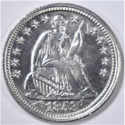 1853 SEATED LIBERTY HALF DIME BU