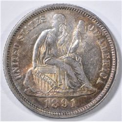 1891 SEATED LIBERTY DIME BU COLOR
