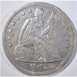1847 SEATED LIBERTY DOLLAR VF