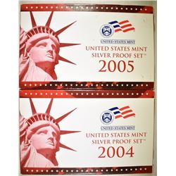 2004 & 05 U.S. SILVER PROOF SETS IN ORIG BOXES/COA