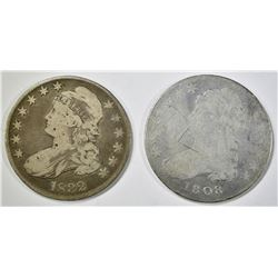 (2) CAPPED BUST HALF DOLLARS 1808