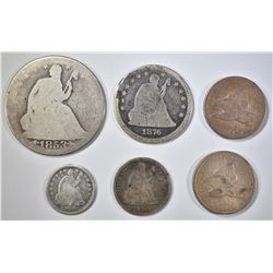 MIXED LOT OF 6 COINS: