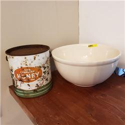 Mixing Bowl & Honey Tin
