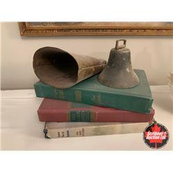 3 Hard Cover Books & 2 Vintage Bells
