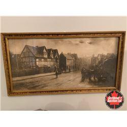 """Framed Art """"Old Town Scene"""""""